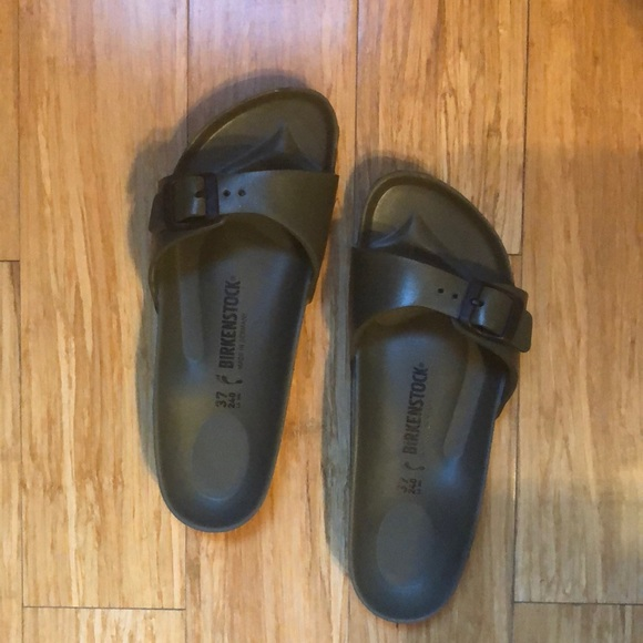 8ecf2a231b0a Birkenstock Shoes - olive green rubber birkenstocks